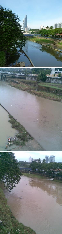 Der Fluß, über den ich morgen immer gehe, überrascht mit wechselnden Pegeln