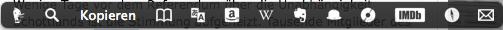 Die Leiste von PopClip erscheint, wenn man einen Text selektiert