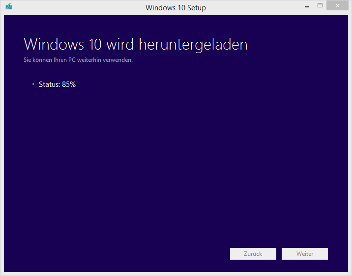Ahh, Windows wird heruntergeladen