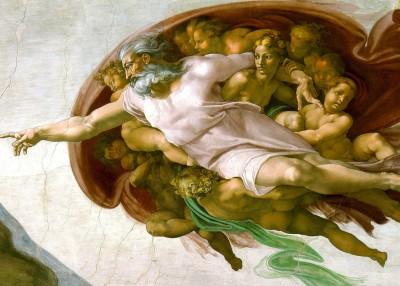 Ausschnitt aus Die Erschaffung Adams von Michelangelo (Public Domain)